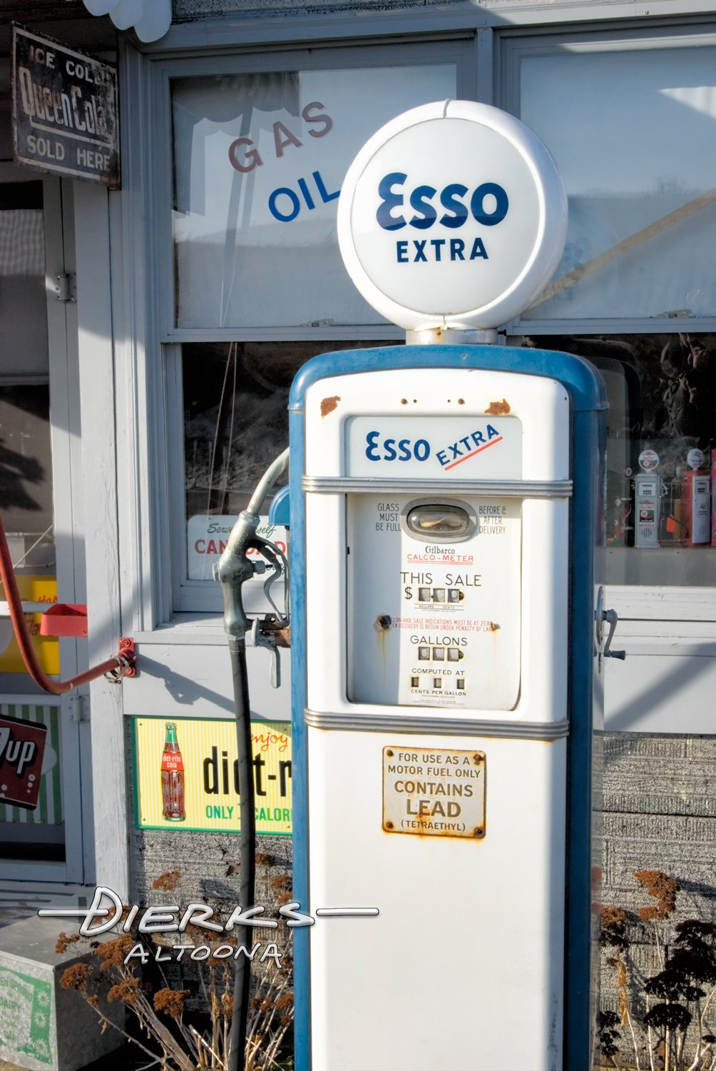 Vintage Esso Extra Gas Pump in Blue