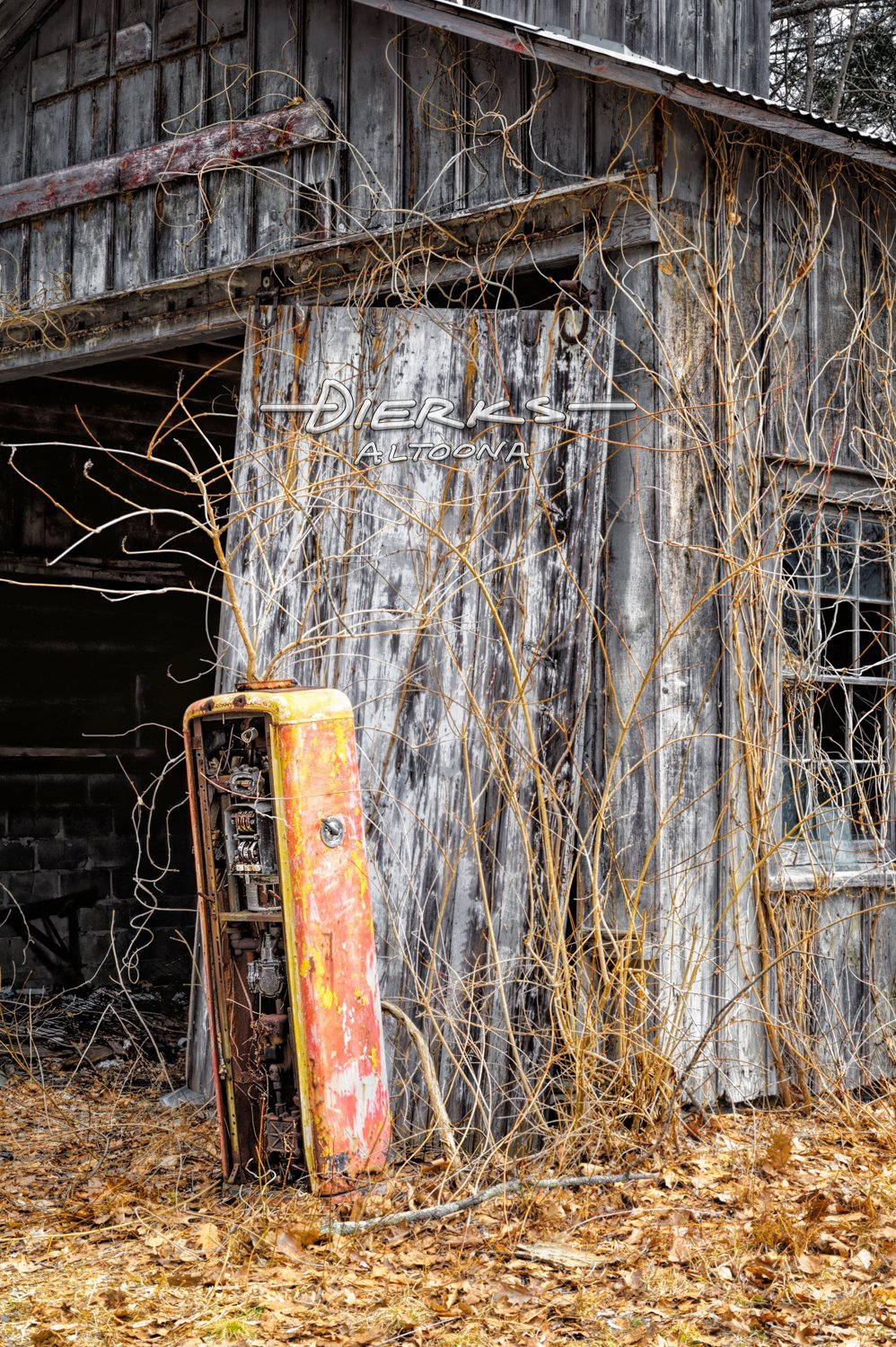 Gas Pump Very Overgrown and Abandoned