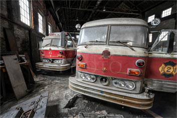 photograph of old firetrucks