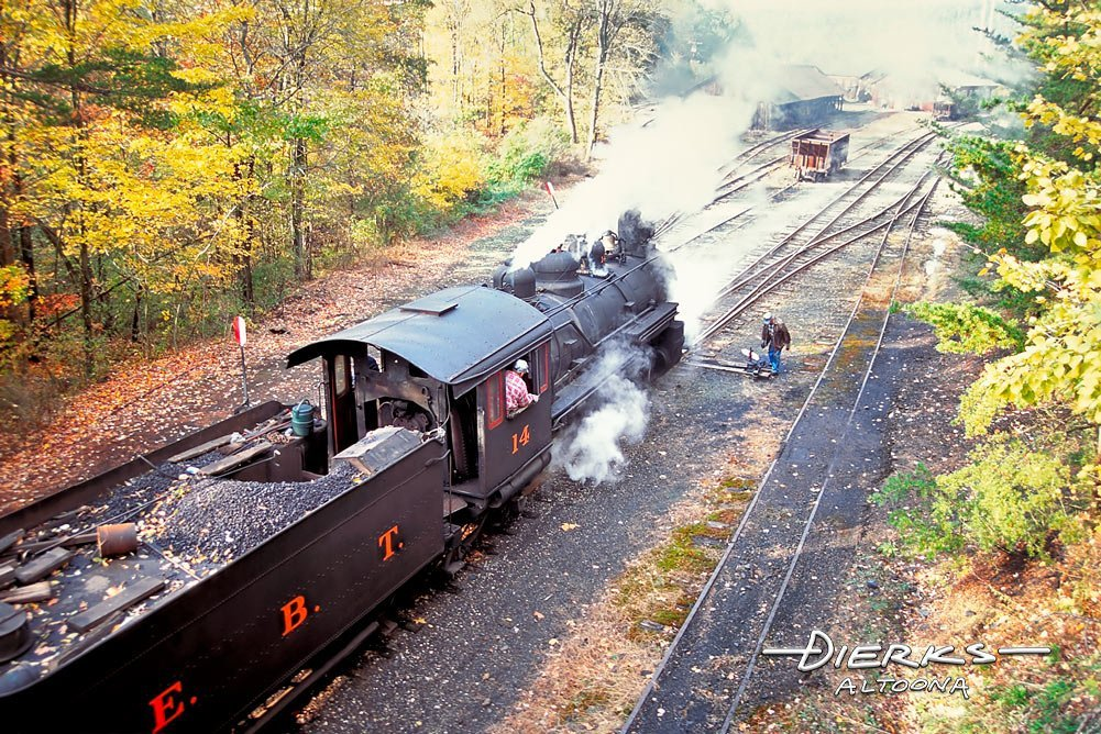 An East Broad Top Railroad steam locomotive and crew waits at the switch for the brakeman to change direction. Quality prints available starting at $29.