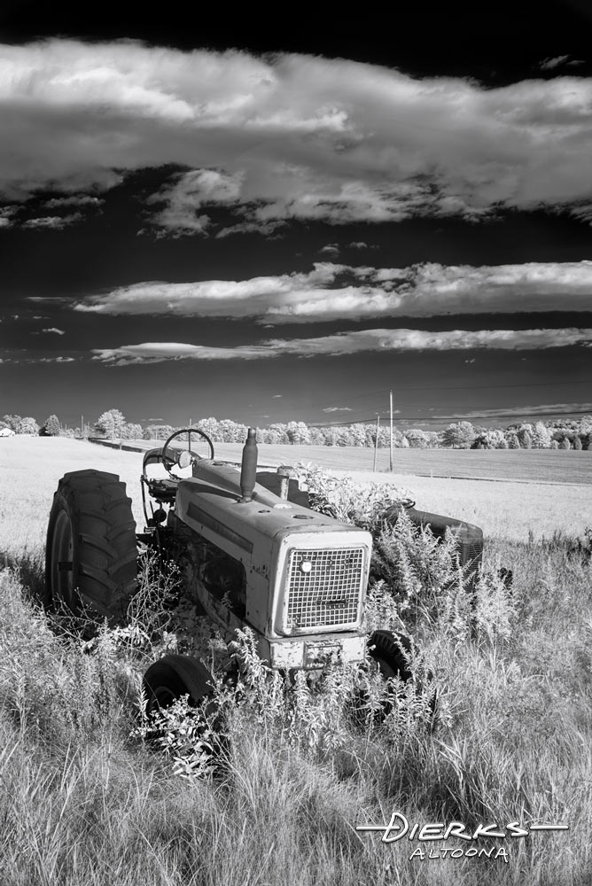 Junkyard tractors in high weeds of a farm field, shot in black and white infrared.