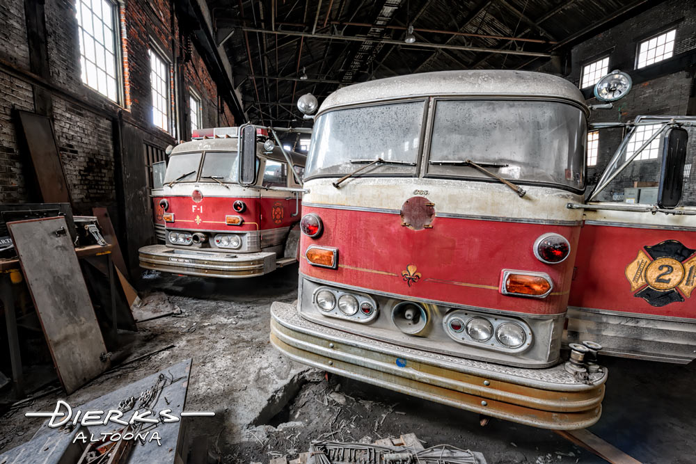 Old Mack fire trucks from Bethlehem Steel inside one of the large buildings on the steel mill site.