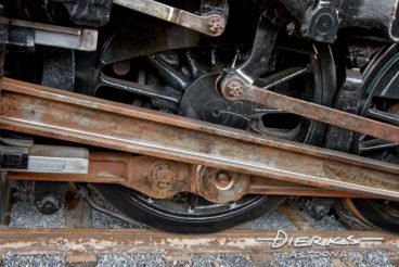 Main rod and connecting rods of a steam locomotive in detail, Norfolk and Western #1218 in Roanoke, Virgina.