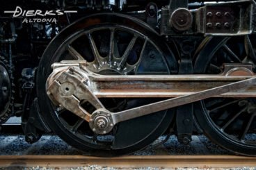 Driving wheels and main rod of a steam locomotive, Norfolk and Western #1218 in the Virginia Transportation Museum in Roanoke.