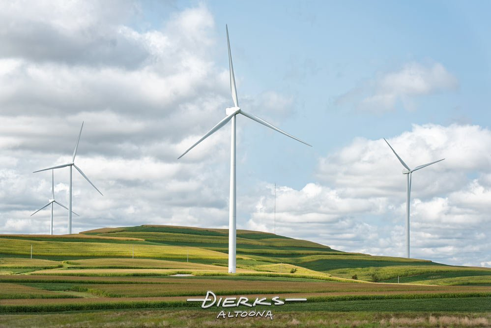 Wind turbines producing alternative energy in the rolling farmland of central Pennsylvania.