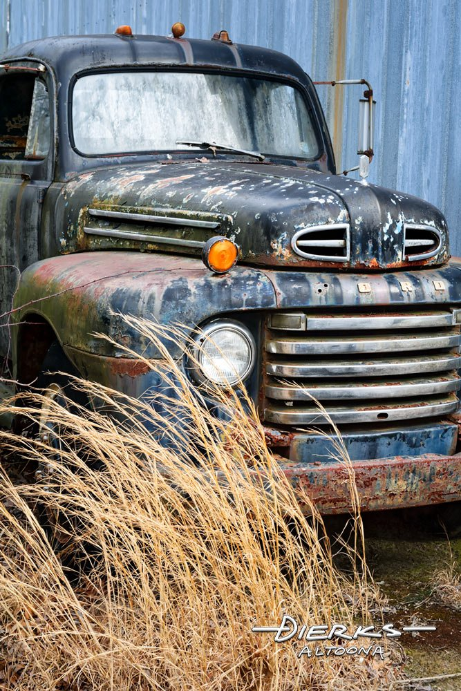 A Ford F pickup truck from the 1950s rusting away in the weeds.