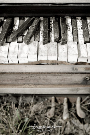 Close up of broken keys on a grungy abandoned piano keyboard left outside. This picture is a hand-tinted black and white.