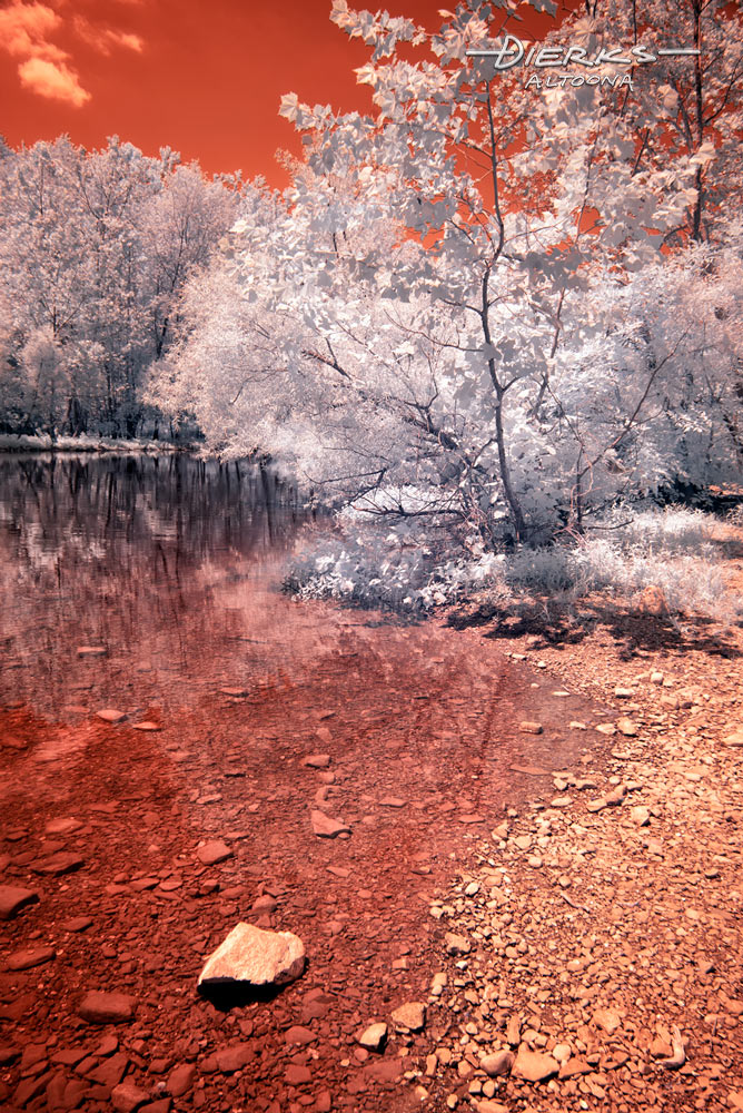 Smooth shallow river water shows all the rocks under the surface and along the bank. Unswapped 590 nanometer infrared picture that retains the red tones.