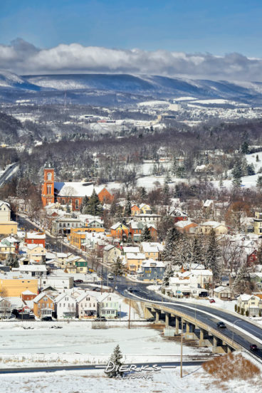 The town of Hollidaysburg PA in new winter snow and sunshine along with a view down the valley all the way to Altoona. Taken from the Chimney Rocks overlook.