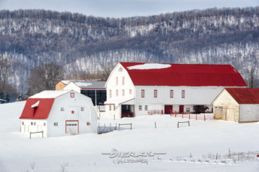 Red roof barns in a snowy white Pennsylvania farm landscape with a mountain ridge directly behind.