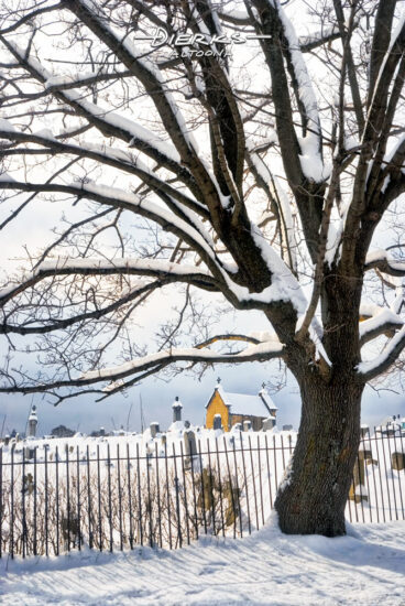 A snow-covered cemetery with mausoleum, twisted maple tree, and an uneven wrought iron fence.