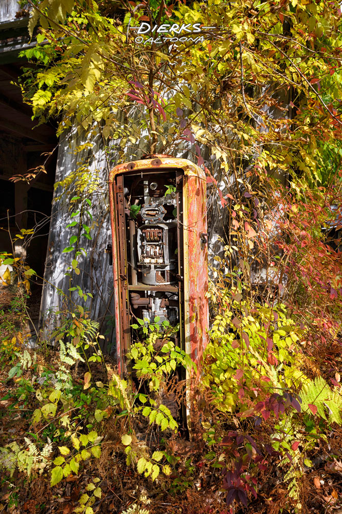 Overgrown through time and abandonment, an old leaning gas pump is rusting to pieces with a small tree growing up through and out the top.